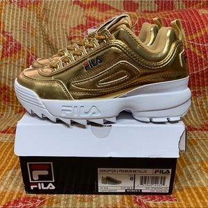Fila Disruptor II Premium Sneakers Metallic Gold 6
